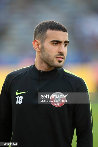 Abdulkareem Salem AlAli of Qatar warms up prior to the AFC Asian Cup final match between Japan and Qatar at Zayed Sports City Stadium on February 1...