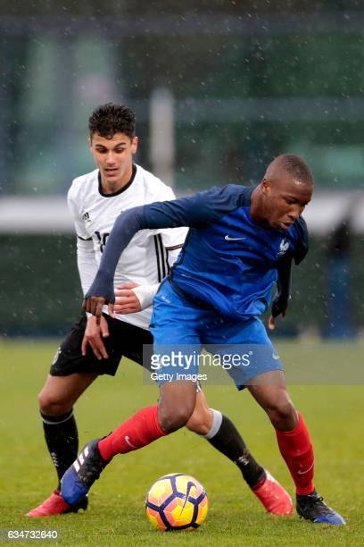 Abdulkerim Cakar of Germany U16 challenges Bafode Diakite of France U16 during the UEFA Development Tournament Match between Germany U16 and France...