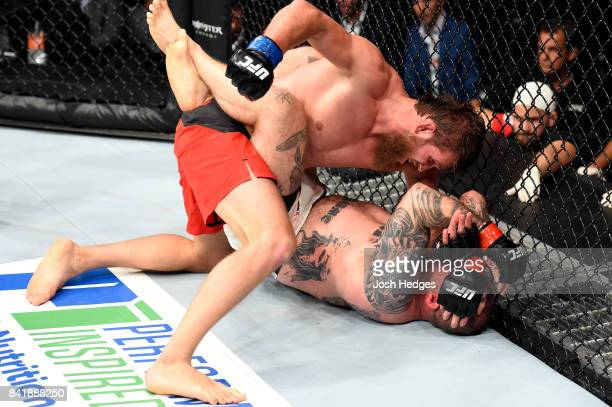 AbdulKerim Edilov of Russia punches Bojan Mihajlovic of Serbia in their light heavyweight bout during the UFC Fight Night event at the Rotterdam Ahoy...