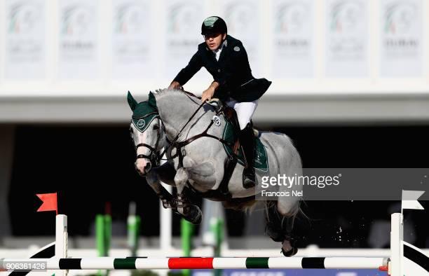 Abdulla Al Shsharbatly of Saudi Arabia rides Citizenguard Toscan during the Dubai Show Jumping Championships on January 18 2018 in Dubai United Arab...