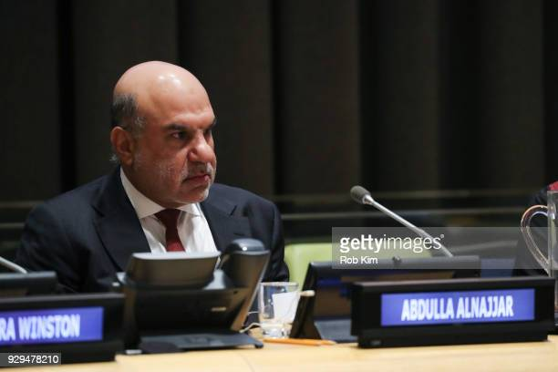 Abdulla Alnajjar attends International Women's Day The Role of Media To Empower Women Panel Discussion at the United Nations on March 8 2018 in New...