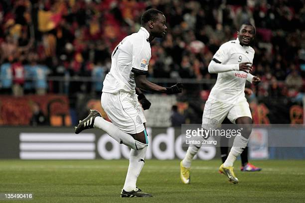 Abdulla Honi of AlSadd Sports Club celebrates after scoring during the FIFA Club World Cup Quarter Final match between Esperance Sportive De Tunis...
