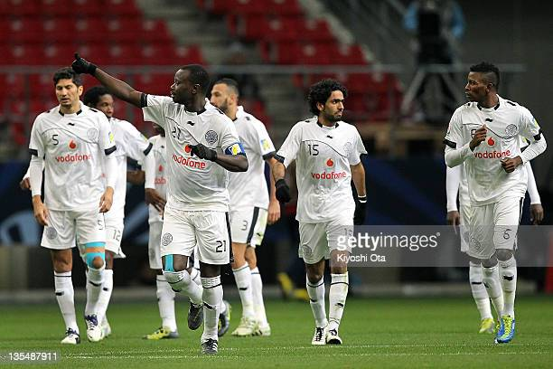 Abdulla Koni of AlSadd celebrates his goal against Esperance Sportive de Tunis during the FIFA Club World Cup Quarter Final match between Esperance...