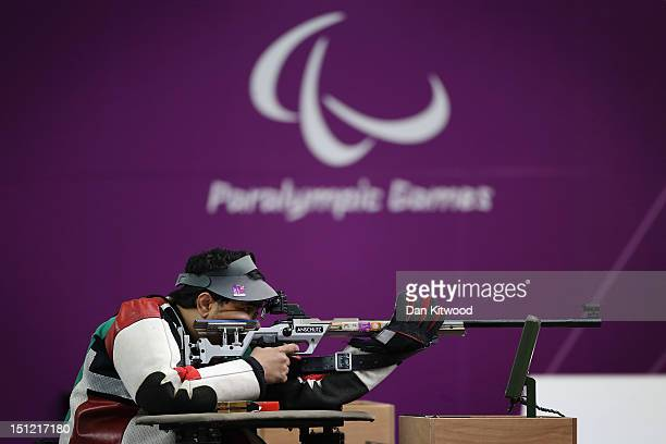 Abdulla Sultan Alaryani of United Arab Emirates competes in the mixed R650m Rifle Prone SH1 final round on day 6 of the London 2012 Paralympic Games...