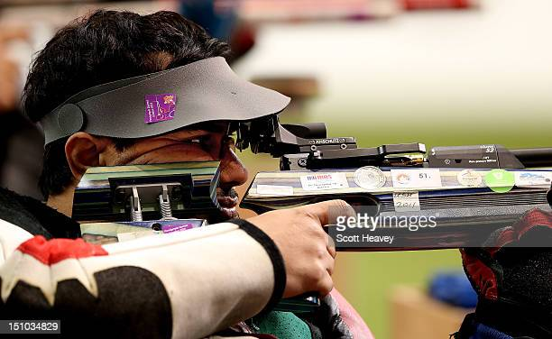 Abdulla Sultan Alaryani of United Arab Emirates during the Men's R1-10m Air Rifle Standing SH1 Final on day 2 of the London 2012 Paralympic Games at...