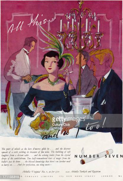 Abdulla Virginia No 7 Cigarette advertisment with an illustration of woman smoking in a restaurant with a man caption reads 'All this…and a 7...