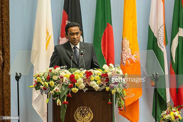Abdulla Yameen President of the Maldives gives a speech during the inaugural session of the 18th SAARC Summit on November 26 2014 in Kathmandu Nepal...