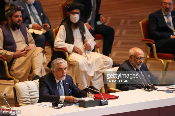 Abdullah Abdullah , Chairman of Afghanistan's High Council for National Reconciliation, speaks the opening session of the peace talks between the...