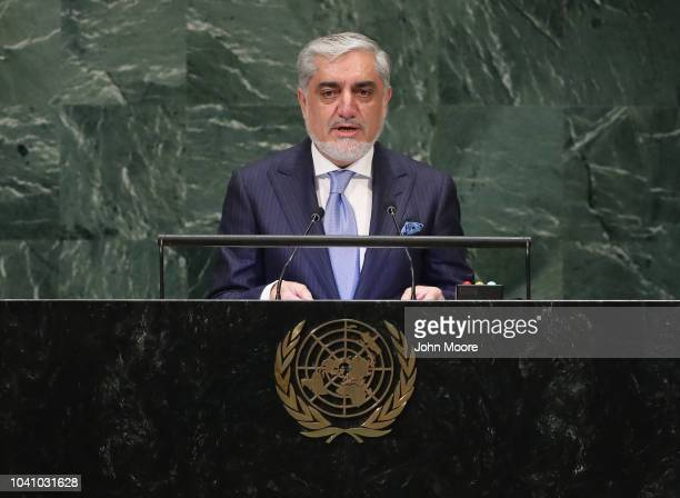 Abdullah Abdullah Chief Executive of Afghanistan addresses the United Nations General Assembly on September 26 2018 in New York City World leaders...