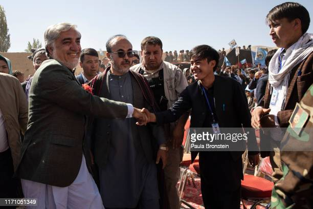 Abdullah Abdullah Chief Executive of Afghanistan arrives at the final campaign rally in Bamiyan Afghanistan on September 25 2019 Afghans will head to...