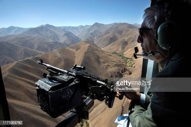 Abdullah Abdullah Chief Executive of Afghanistan traveling via helicopter for the final campaign rally in Bamiyan Afghanistan on September 25 2019...