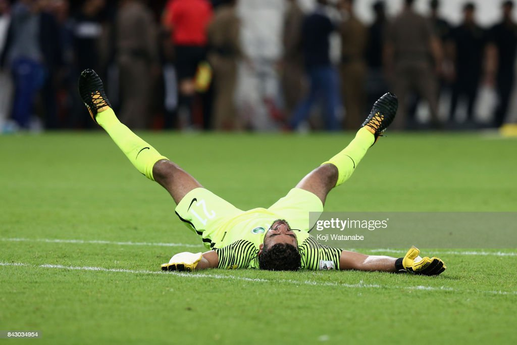 Abdullah Almayouf of Saudi Arabia celebrates his side's 1-0 victory and qualified for the FIFA World Cup Russia after the FIFA World Cup qualifier match between Saudi Arabia and Japan at the King Abdullah Sports City on September 5, 2017 in Jeddah, Saudi Arabia.