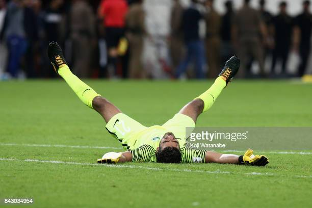 Abdullah Almayouf of Saudi Arabia celebrates his side's 10 victory and qualified for the FIFA World Cup Russia after the FIFA World Cup qualifier...