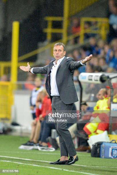 Abdullah Avci Head Coach from Istanbul Basaksehirin reacts to the referees decision during the Champions League Third Round Qualifier First Leg match...