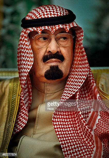 Abdullah bin Abdulaziz Al Saud then prince and later King of Saudi Arabia during the 'majlis' a weekly meeting in December 2002 where citizens can...
