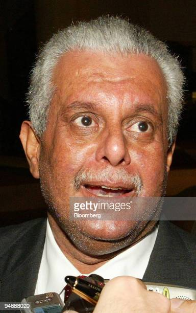 Abdullah bin Hamad Al Attiyah minister of oil of Qatar speaks with the press upon his arrival in Vienna Austria on Sunday September 18 2005 The OPEC...