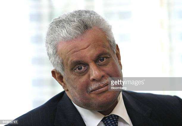 Abdullah bin Hamad Al Attiyah Qatar oil minister speaks during an interview in the lobby of the Phoenicia Intercontinental in Beirut Wednesday June 2...