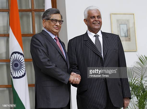 'NEW DELHI INDIA SEPTEMBER 12 Abdullah bin Hamad AlAttiyah Deputy prime Minister of Qatar with Union External Affairs Minister S M Krishna before...