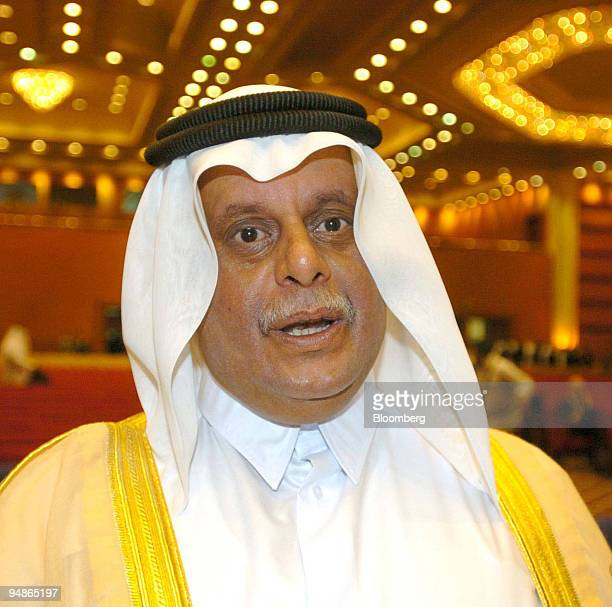 Abdullah bin Hamad alAttiyah oil minister for Qatar talks to the media at a Natural Gas conference in Doha Qatar Monday March 22 2004 Qatar's oil...