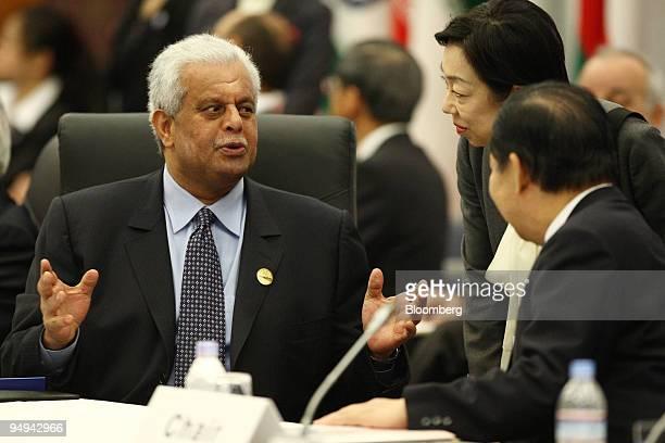 Abdullah bin Hamad alAttiyah Qatar's deputy prime minister and minister of energy and industry left talks with Toshihiro Nikai Japan's economy trade...