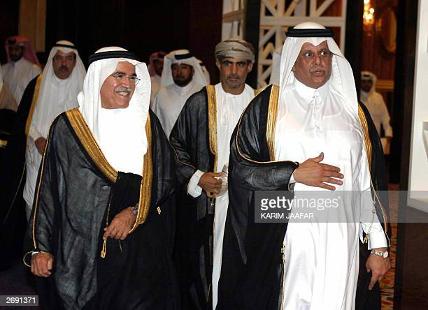 Abdullah bin Hamad alAttiyah Qatar's Oil Minister arrives with Saudi Oil Minister Ali alNuaimi to opening session of the Gulf Cooperation Council Oil...
