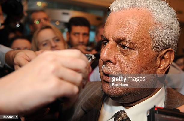 Abdullah bin Hamad alAttiyah Qatar's oil minister speaks to reporters as he arrives at his hotel prior to an Organization of Petroleum Exporting...