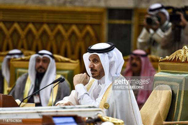 Abdullah bin Nasser bin Khalifa al-Thani, Qatar's Prime Minister, attends a session of the 40th Gulf Cooperation Council summit held at the Saudi...