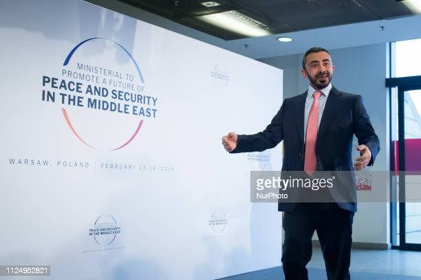 Abdullah bin Zayed Al Nahyan before the second day of an international conference devoted to peace and security in the Middle East organised by...