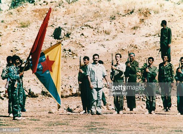 Abdullah Öcalan leader of the PKK reviews his armed guerilla fighters