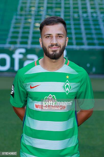 Abdullah Dogan poses during the offical team presentation of Werder Bremen II on July 20 2016 in Bremen Germany