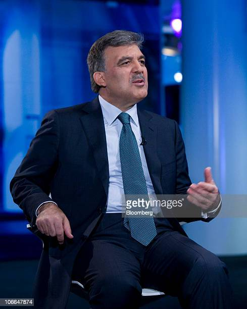 Abdullah Gul president of Turkey speaks during a television interview in London UK on Tuesday Nov 9 2010 Gul said the country's growing economy is...