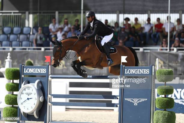 Abdullah Humaid Al Muhairi of NUnited Arab Emirates rides Cha Cha Cha during The President of the UAE Show Jumping Cup at Al Forsan on February 17...