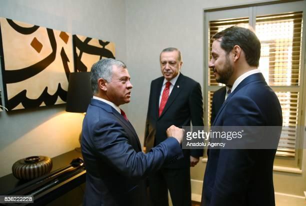 Abdullah II of Jordan talks to President of Turkey Recep Tayyip Erdogan and Energy and Natural Resources Minister of Turkey Berat Albayrak ahead of a...