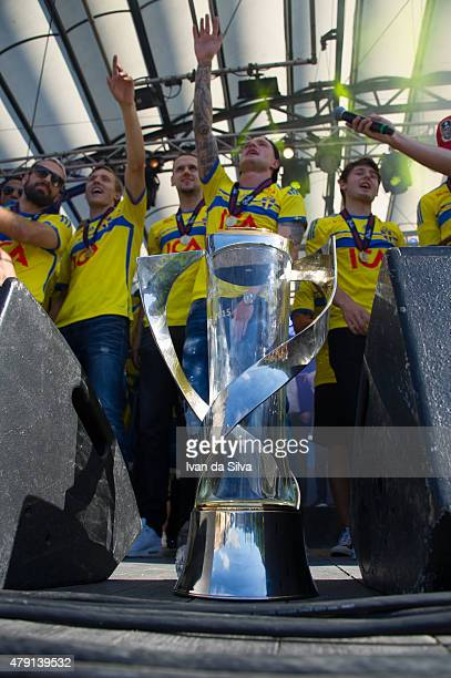 Abdullah Khalili Ludwig Augustinsson Alexander Milosevic John Guidetti and Arber Zeneli of Sweden U21 Team after they returned to Sweden victorious...