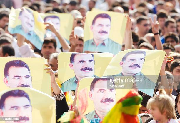 abdullah ocalan posters during a political rally - van turkey stock pictures, royalty-free photos & images