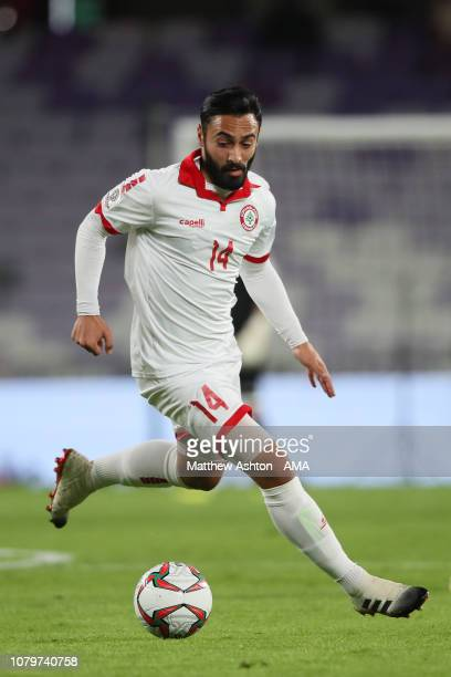 Abdullah Otayf of Lebanon in action during the AFC Asian Cup Group E match between Qatar and Lebanon at Hazza Bin Zayed Stadium on January 9 2019 in...