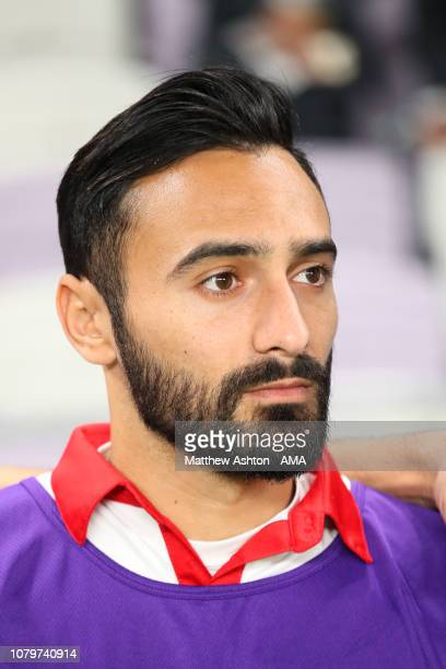 Abdullah Otayf of Lebanon looks on prior to the AFC Asian Cup Group E match between Qatar and Lebanon at Hazza Bin Zayed Stadium on January 9 2019 in...