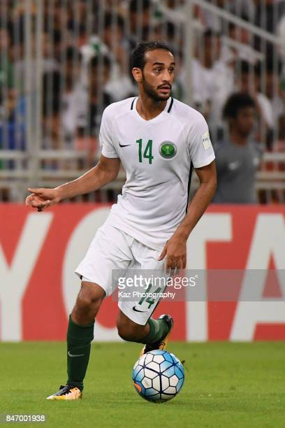 Abdullah Otayf of Saudi Arabia in action during the FIFA World Cup qualifier match between Saudi Arabia and Japan at the King Abdullah Sports City on...
