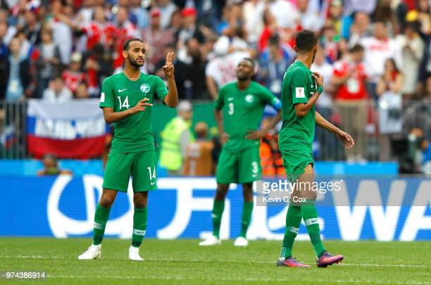 Abdullah Otayf of Saudi Arabia issues instructions to team mate Salman Alfaraj during the 2018 FIFA World Cup Russia Group A match between Russia and...