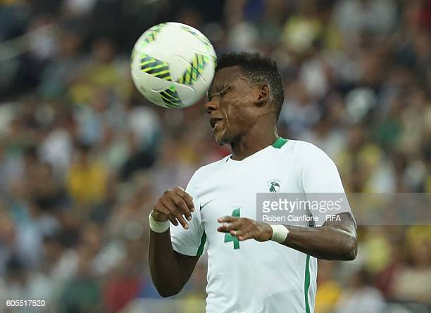 Abdullahi Shehu of Nigeria heads the ball during the Men's Football Semi Final between Nigeria and Germany on Day 12 of the Rio 2016 Olympic Games at...