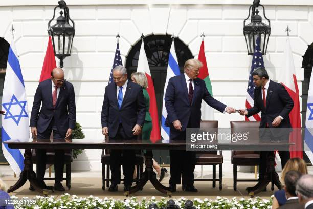 Abdullatif bin Rashid Al Zayani Bahrain's foreign affairs minister from left Benjamin Netanyahu Israel's prime minister US President Donald Trump and...