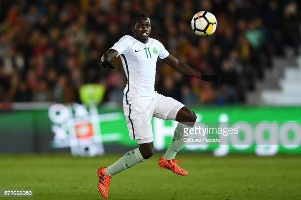 Abdulmalek Alkhaibri of Saudi Arabia in action during the International Friendly match between Portugal and Saudi Arabia at Estadio do Fontelo on...