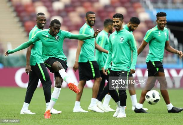 Abdulmalek Alkhaibri of Saudi Arabia passes the ball during a Saudi Arabia training session ahead of the 2018 FIFA World Cup opening match against...