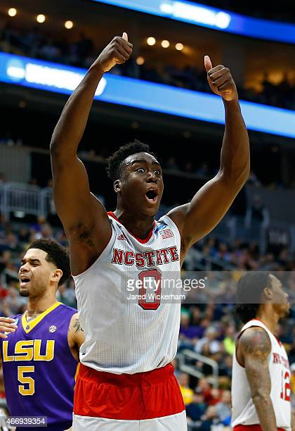 AbdulMalik Abu of the North Carolina State Wolfpack reacts to a call against the LSU Tigers in the first half during the second round of the 2015...