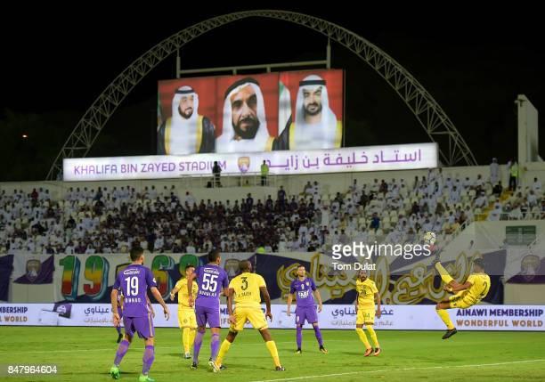 Abdulrahman Ali of Al Wasl kicks the ball during the Arabian Gulf League match between Al Ain and Al Wasl at Khalifa bin Zayed Stadium on September...