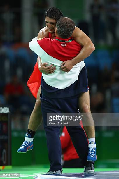 Abdulrashid Sadulaev of Russia celebrates victory over Selim Yasar of Turkey in the Men's Freestyle 86kg Gold Medal bout on Day 15 of the Rio 2016...