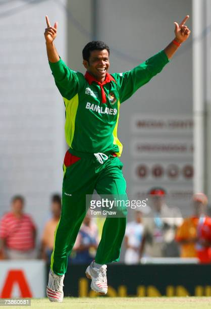 Abdur Razzak of Bangladesh celebrates the wicket of Kevin Pietersen of England during the ICC Cricket World Cup Super Eights match between England...