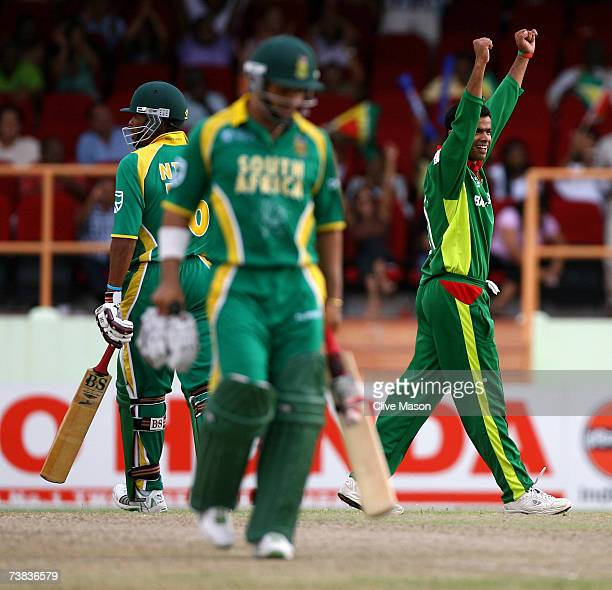 Abdur Razzak of Bangladesh celebrates victory as he takes the wicket of Makhaya Ntini of South Africa during the ICC Cricket World Cup Super Eights...