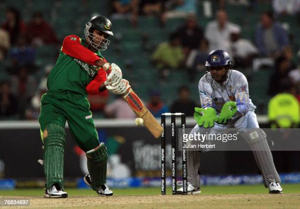 Abdur Razzak of Bangladesh hits out against the bowling of Sri Lanka at The Wanderers Cricket Ground during The ICC World Twenty20 Championship on...