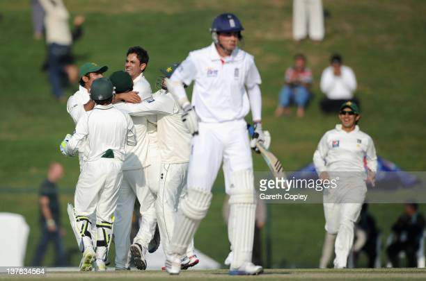 Abdur Rehman of Pakistan celebrates dismissing Stuart Broad of England during the second Test match between Pakistan and England at Sheikh Zayed...